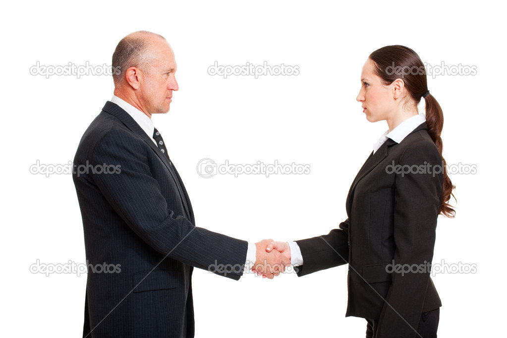 Serious businessman greeting young woman. isolated on white background — Stock Photo #5159421