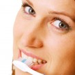 Closeup of woman with toothbrush — Stock Photo #5160154