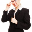 Happy businesswoman showing thumbs up — Stock Photo