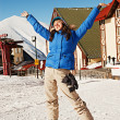 Happy woman on ski resort — Stock Photo
