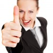 Happy woman showing thumbs up — Stock Photo #5160294