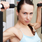 Pretty sportswoman training — Stock Photo