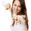 Smiley woman pointing — Stock Photo #5160653