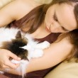 Woman with her cat — Stock Photo #5160965