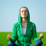 meditação mulher bonita jovem — Foto Stock