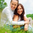 Two girls resting in the park — Stock Photo