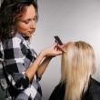 Hairdresser working with blonde — Stock Photo