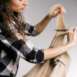 Stock Photo: Pro hairdresser working with client