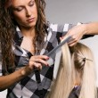 Professional hairdresser doing haircut — Stock Photo
