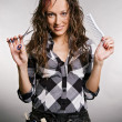 Smiley hairdresser with tools - Foto de Stock  