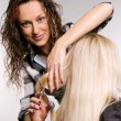 Stock Photo: Smiley hairdresser working with client