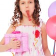 Joyous girl with balloons and gift box — Stock Photo #5161709