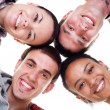 Group of happy young in circle — Stock Photo