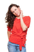 Smiley woman with curly hair — Stock Photo