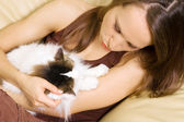 Woman with her cat — Stock Photo