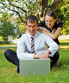 Two happy colleagues at outdoor — Stock Photo