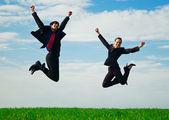 幸せな 2 人の同僚 — ストック写真