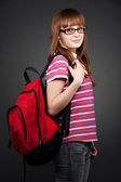 Pretty student with knapsack — Stock Photo