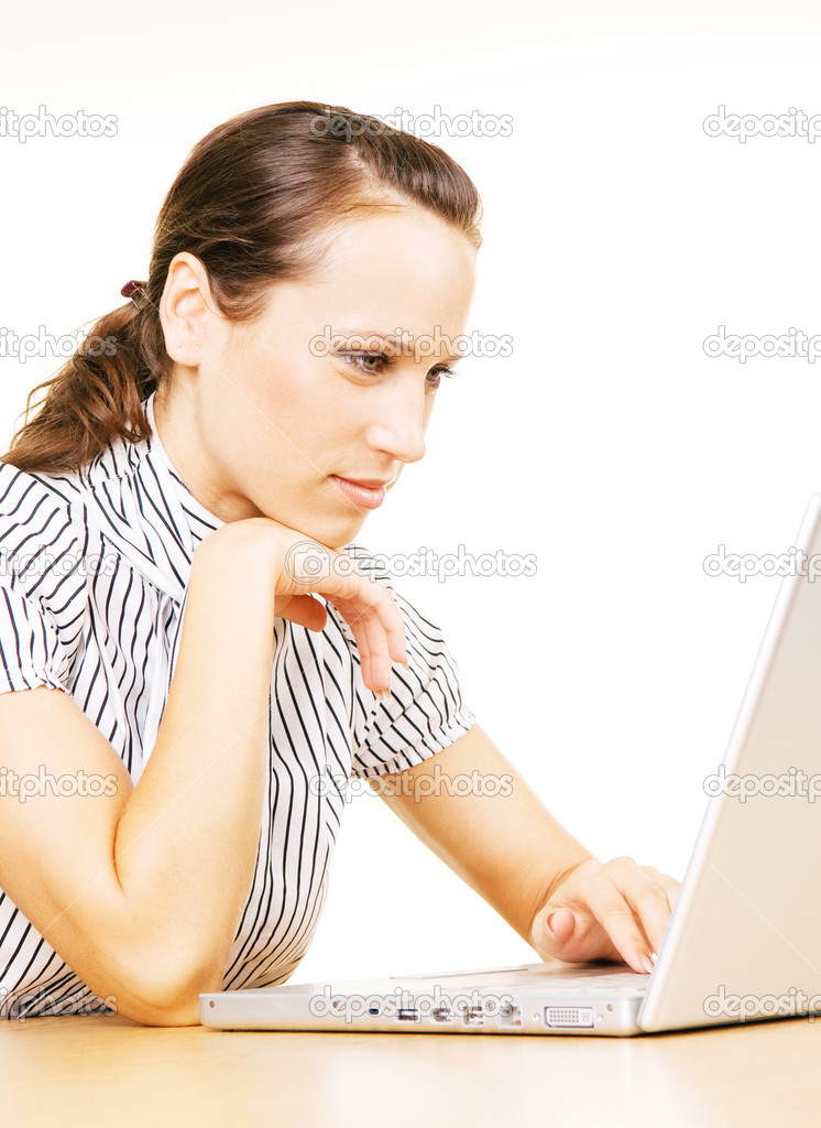 Young beautiful woman using laptop  Stock Photo #5160050