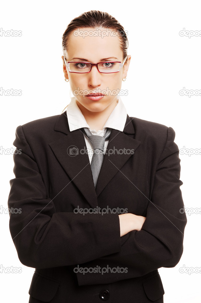 Portrait of strict businesswoman against white background — Stock Photo #5160421