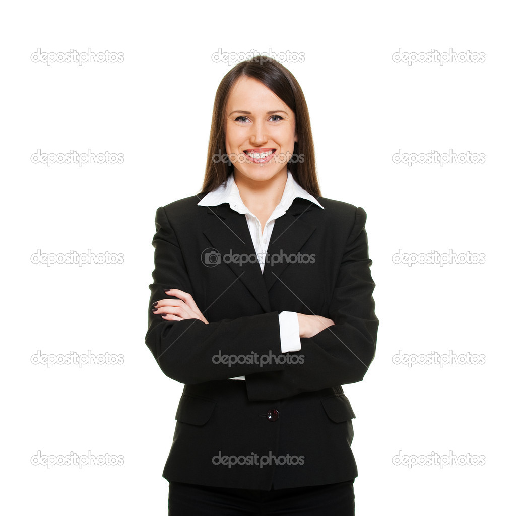 Portrait of smiley successful businesswoman. isolated on white — Stock Photo #5160609