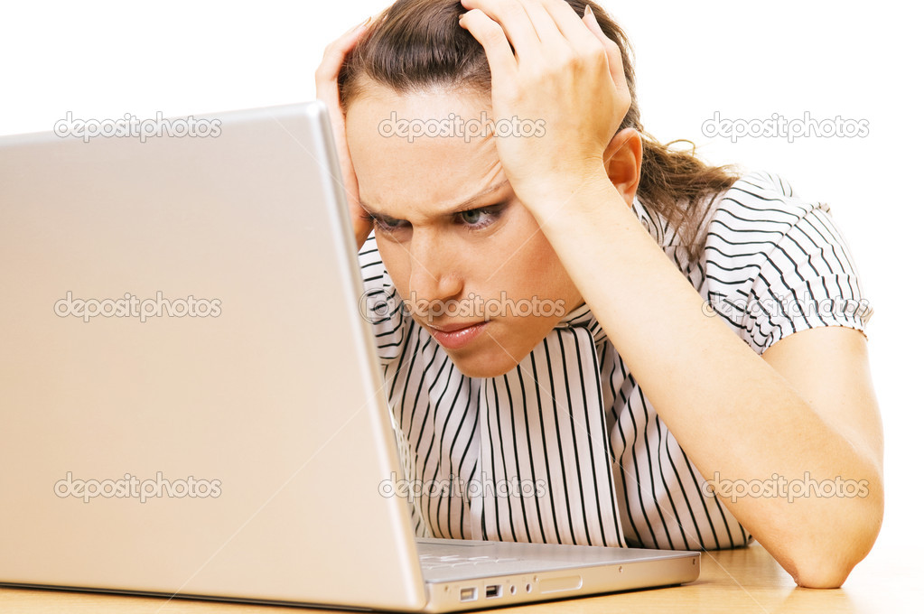 Beautiful woman have problem with laptop — Foto Stock #5160837
