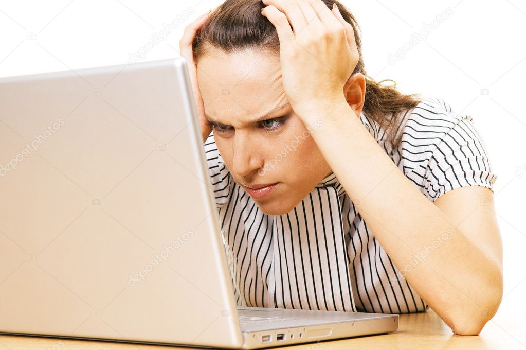 Beautiful woman have problem with laptop  Stock Photo #5160837