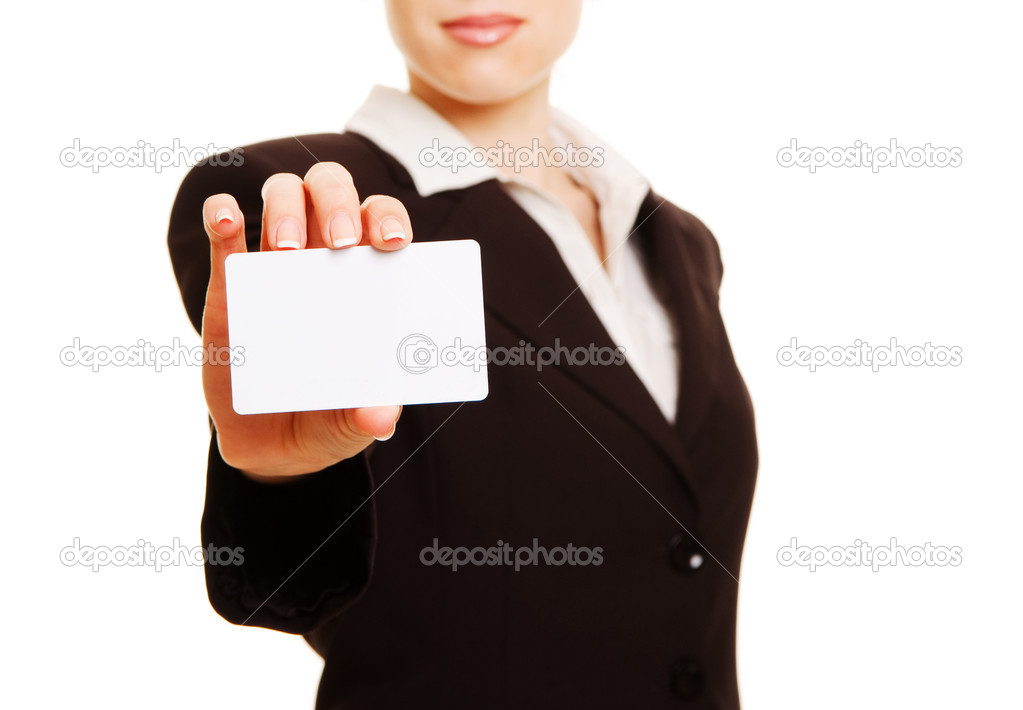 Woman in black jacket presenting business card — Stock Photo #5160889