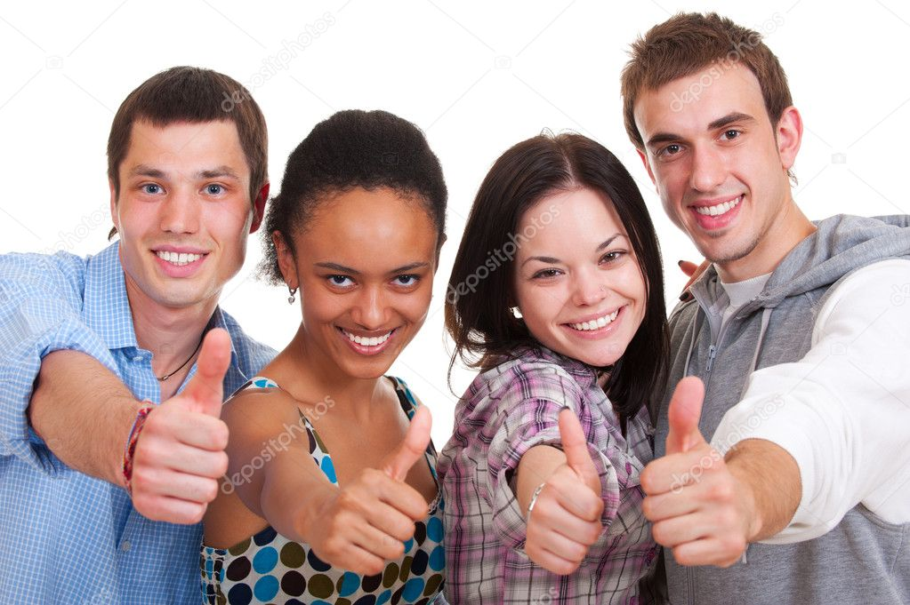 Smiley young showing thumbs up. isolated on white — Stock Photo #5161981