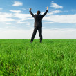 Stock Photo: Glad businessmstanding at green grass