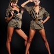Go-go dancers in uniform — Stock Photo