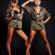 Go-go dancers in uniform — Stock Photo