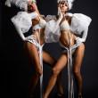 Hot girls in white costumes — Stock Photo