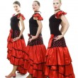 Three dancers in national Spanish costumes — Stock Photo