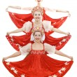Three russian beauties standing like christmas tree — Stock Photo