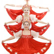 Stock Photo: Three russian beauties standing like christmas tree