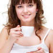 Portrait of woman with white cup of coffee — Stock Photo #5181508