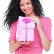 Young happy woman with a gift — Stock Photo #5181781