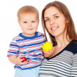 Portrait of smiley mother with son — Stock Photo