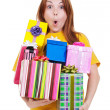Amazed girl with gift boxes — Stock Photo