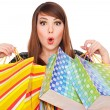 Funny girl with shopping bags — Lizenzfreies Foto