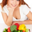 Happy woman with vegetables — Stock Photo #5181918