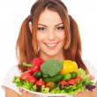 Happy woman with vegetables — Stock Photo #5181922