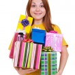 Joyful woman with gifts — Stock Photo