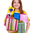 Joyful woman with gifts - Lizenzfreies Foto