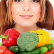 Portrait of healthy woman with vegetables — Stock Photo