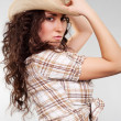Alluring woman in cowboy hat — Stock Photo