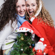 Crazy friends celebrating christmas — Stock Photo