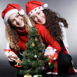 Lovely girls with santa and christmas tree — Stock Photo