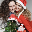 Two smiley friends near little christmas tree and santa — Stock Photo